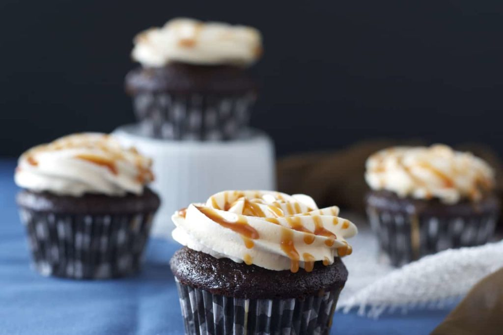 Chocolate Cupcakes with Salted Caramel Frosting - Bake.Eat.Repeat.